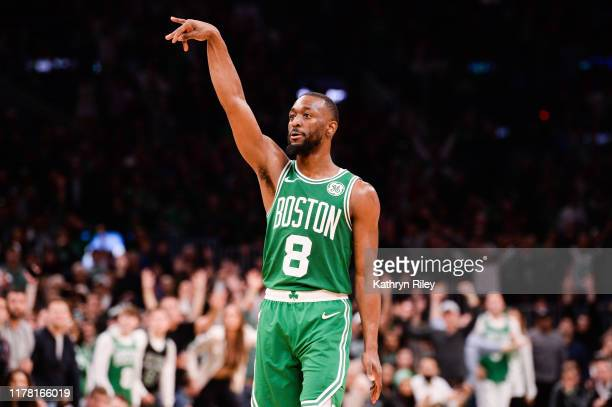 Kemba Walker of the Boston Celtics holds his follow through in the second half against the Toronto Raptors at TD Garden on October 25, 2019 in...