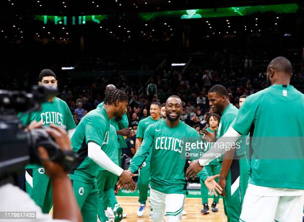 Kemba Walker of the Boston Celtics is introduced before the preseason game against the Charlotte Hornets at TD Garden on October 06 2019 in Boston...