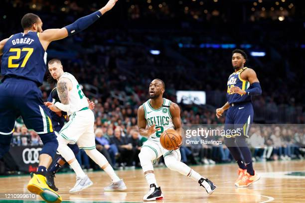 Kemba Walker of the Boston Celtics looks to shoot during the first quarter of the game against the Utah Jazz at TD Garden on March 06 2020 in Boston...