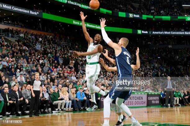 Kemba Walker of the Boston Celtics passes the ball against the Dallas Mavericks on November 11, 2019 at the TD Garden in Boston, Massachusetts. NOTE...