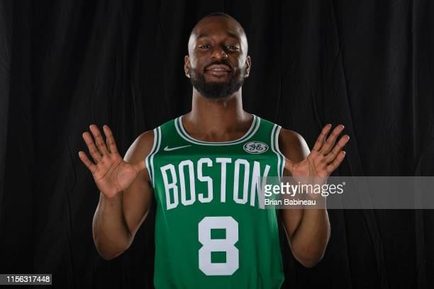 Kemba Walker of the Boston Celtics poses for a portrait after being introduced during a press conference on July 17 2019 at the Auerbach Center in...