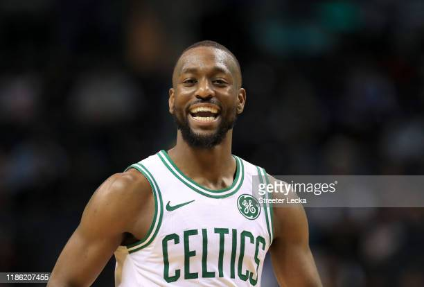 Kemba Walker of the Boston Celtics reacts after a play against the Charlotte Hornets during their game at Spectrum Center on November 07, 2019 in...