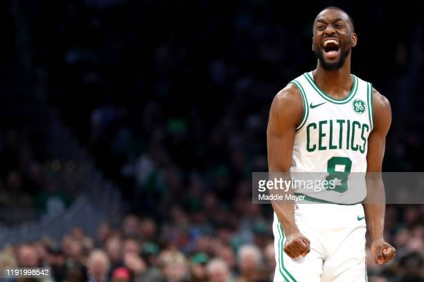 Kemba Walker of the Boston Celtics reacts after missing a shot during the second half of the game between the Boston Celtics and the Miami Heat at TD...