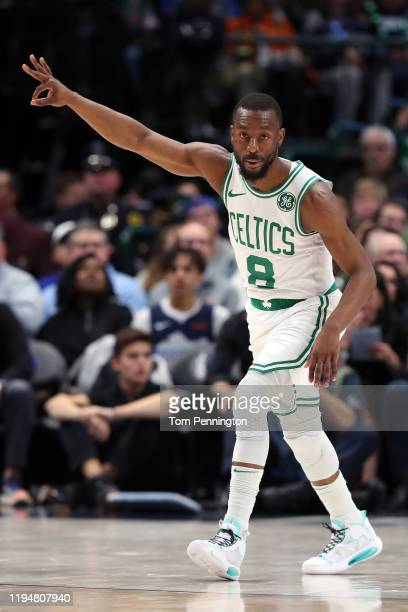 Kemba Walker of the Boston Celtics reacts after scoring against the Dallas Mavericks in the first half at American Airlines Center on December 18,...