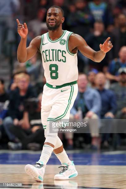 Kemba Walker of the Boston Celtics reacts against the Dallas Mavericks in the second half at American Airlines Center on December 18, 2019 in Dallas,...