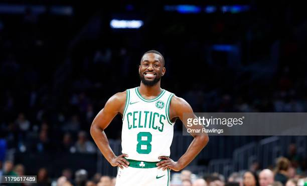Kemba Walker of the Boston Celtics reacts during the first quarter of the game against the Charlotte Hornets at TD Garden on October 06, 2019 in...