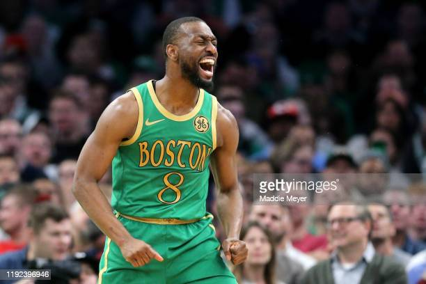 Kemba Walker of the Boston Celtics reacts during the second half of the game against the Denver Nuggets at TD Garden on December 06, 2019 in Boston,...