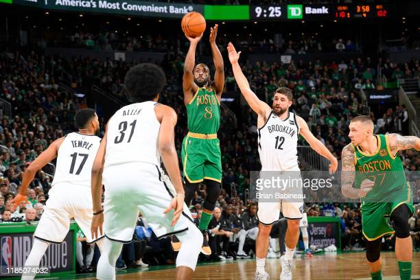 Kemba Walker of the Boston Celtics shoots the ball against the Brooklyn Nets on November 27 2019 at the TD Garden in Boston Massachusetts NOTE TO...