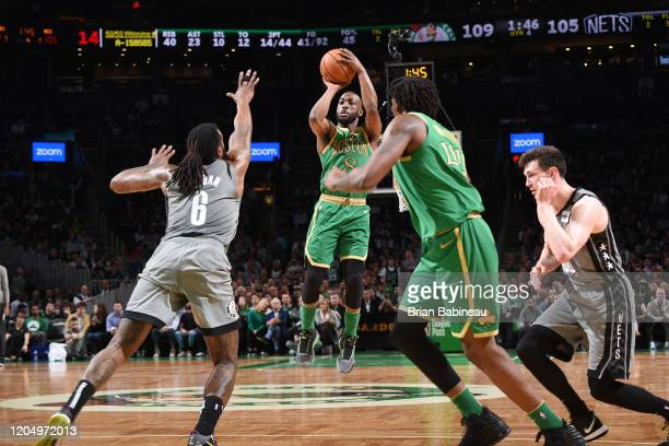Kemba Walker of the Boston Celtics shoots the ball against the Brooklyn Nets on March 03 2020 at the TD Garden in Boston Massachusetts NOTE TO USER...