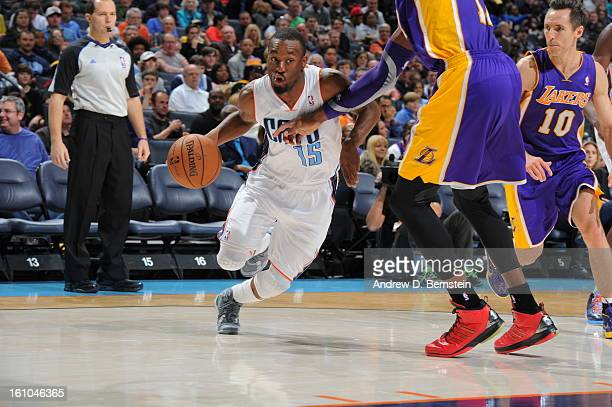 Kemba Walker of the Charlotte Bobcats drives to the basket against the Los Angeles Lakers on February 8 2013 at the Time Warner Cable Arena in...