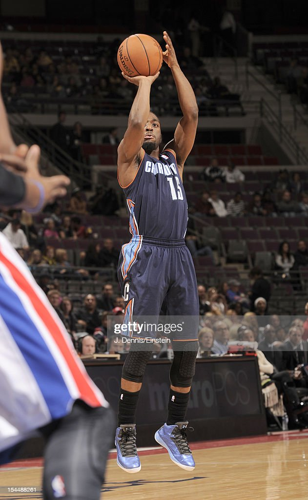 Kemba Walker #15 of the Charlotte Bobcats goes for a jump shot during the pre-season game between the Charlotte Bobcats and the Detroit Pistons on October 20, 2012 at The Palace of Auburn Hills in Auburn Hills, Michigan.