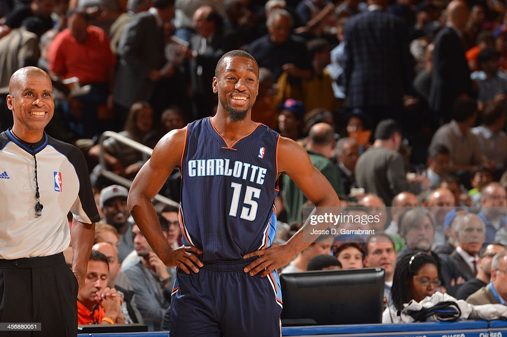 Kemba Walker #15 of the Charlotte Bobcats smiles against the New York Knicks during the game on November 5, 2013 at Madison Square Garden in New York City, New York.