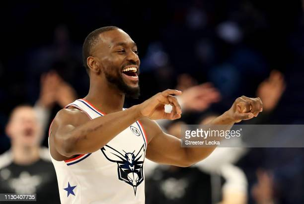 Kemba Walker of the Charlotte Hornets and Team Giannis reacts against Team Lebron in the second half during the NBA AllStar game as part of the 2019...