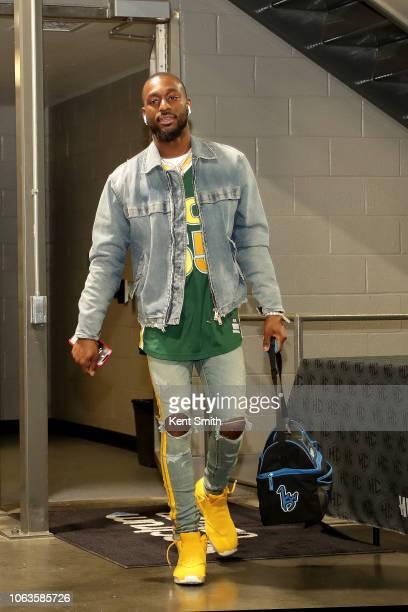 Kemba Walker of the Charlotte Hornets arrives to the game against the Boston Celtics on November 19 2018 at Spectrum Center in Charlotte North...