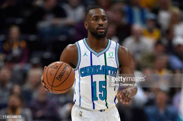 Kemba Walker of the Charlotte Hornets brings the ball up court against the Utah Jazz in a NBA game at Vivint Smart Home Arena on April 01 2019 in...