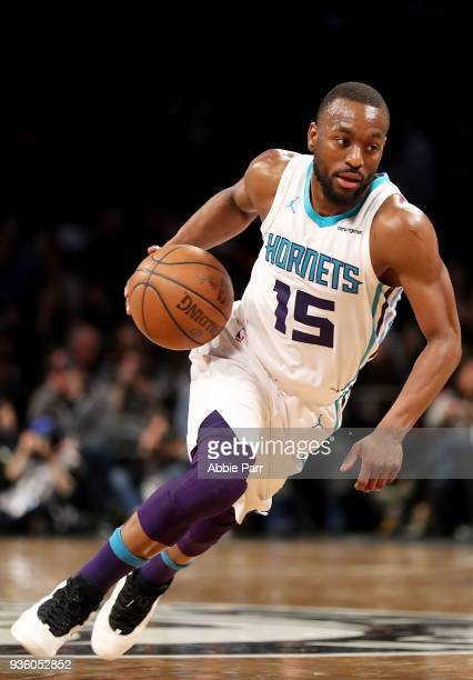 Kemba Walker of the Charlotte Hornets dribbles to the basket in the third quarter against the Brooklyn Nets during their game at Barclays Center on...