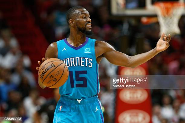 Kemba Walker of the Charlotte Hornets dribbles with the ball against the Miami Heat at American Airlines Arena on October 20 2018 in Miami Florida...