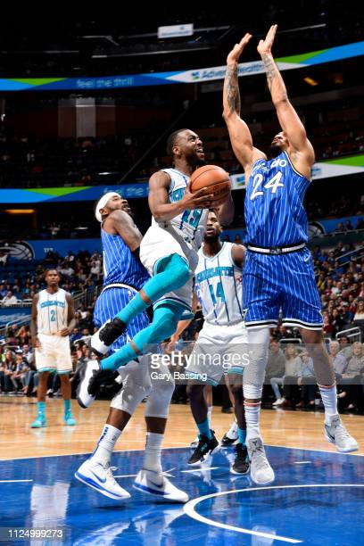 Kemba Walker of the Charlotte Hornets goes to the basket against the Orlando Magic on February 14 2019 at Amway Center in Orlando Florida NOTE TO...