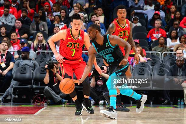 Kemba Walker of the Charlotte Hornets handles the ball against the Atlanta Hawks on November 25 2018 at State Farm Arena in Atlanta Georgia NOTE TO...