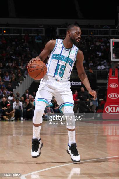 Kemba Walker of the Charlotte Hornets handles the ball against the Atlanta Hawks on February 9 2019 at State Farm Arena in Atlanta Georgia NOTE TO...