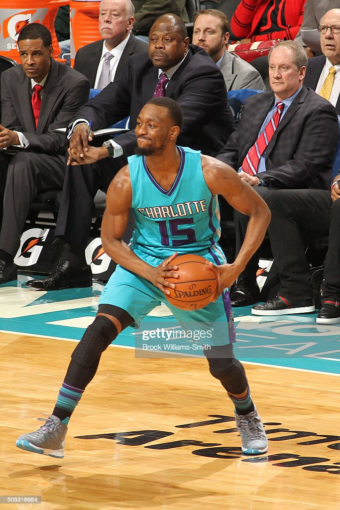 Kemba Walker #15 of the Charlotte Hornets handles the ball against the Milwaukee Bucks on January 16, 2016 at Time Warner Cable Arena in Charlotte, North Carolina.