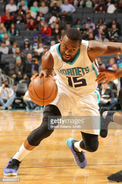 Kemba Walker of the Charlotte Hornets handles the ball against the Indiana Pacers on March 6 2017 at Spectrum Center in Charlotte North Carolina NOTE...