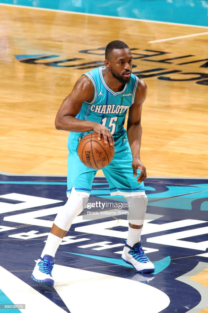 Kemba Walker #15 of the Charlotte Hornets handles the ball against the Phoenix Suns on March 10, 2018 at Spectrum Center in Charlotte, North Carolina.