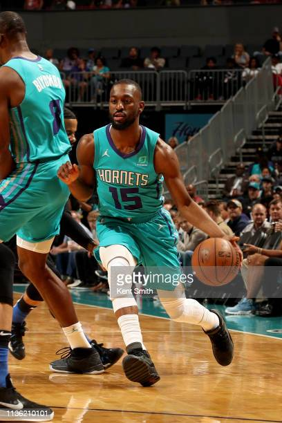 Kemba Walker of the Charlotte Hornets handles the ball during the game against the Orlando Magic on April 10 2019 at Spectrum Center in Charlotte...