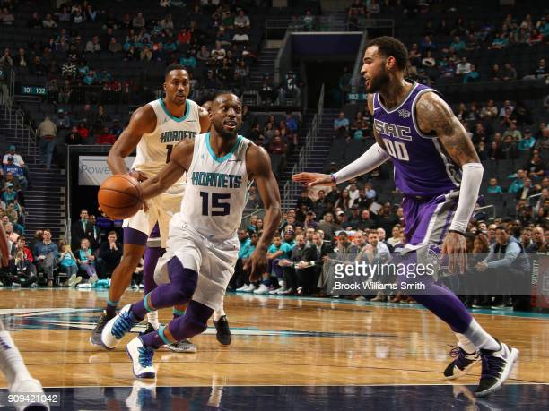 Kemba Walker of the Charlotte Hornets handles the ball during the game against the Sacramento Kings on January 22 2018 at Spectrum Center in...