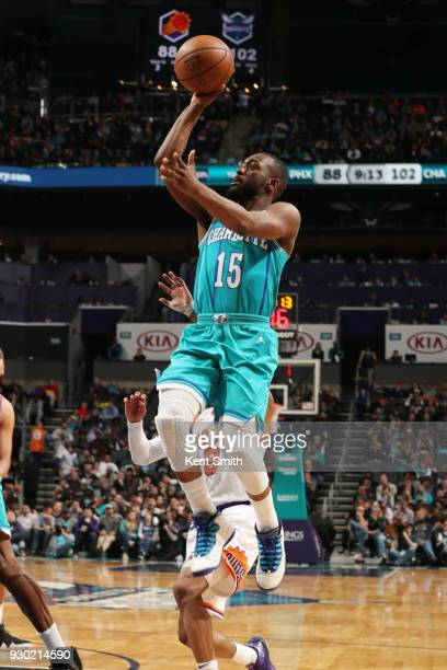 Kemba Walker of the Charlotte Hornets handles the ball during the game against the Phoenix Suns on March 10 2018 at Spectrum Center in Charlotte...