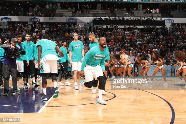 Kemba Walker of the Charlotte Hornets is introduced before a game against the Cleveland Cavaliers on March 24 2017 at the Spectrum Center in...