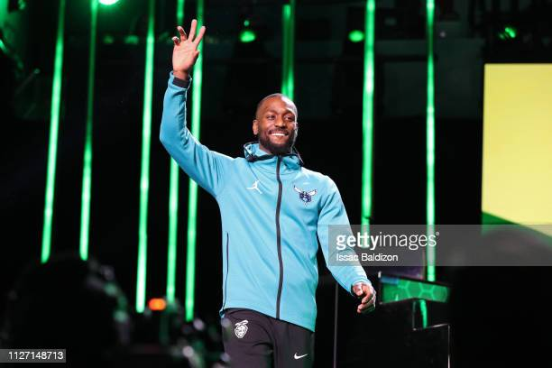 Kemba Walker of the Charlotte Hornets is introduced during the 2019 Mtn Dew 3Point Contest as part of the State Farm AllStar Saturday Night on...