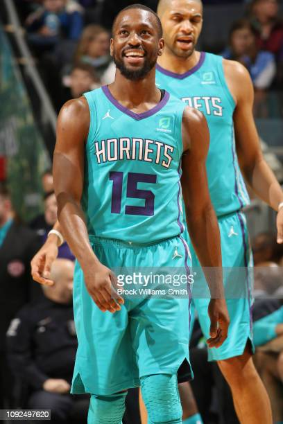 Kemba Walker of the Charlotte Hornets looks on during the game against the Memphis Grizzlies on February 1 2019 at Spectrum Center in Charlotte North...