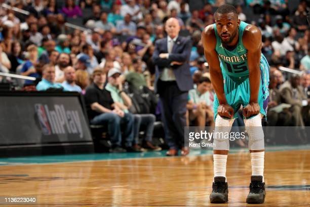 Kemba Walker of the Charlotte Hornets looks on during the game against the Orlando Magic on April 10 2019 at Spectrum Center in Charlotte North...