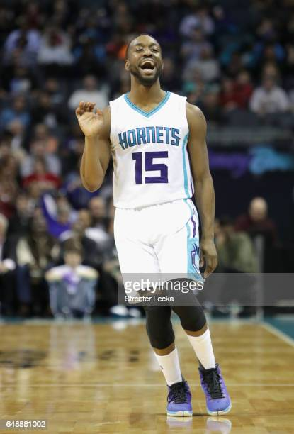 Kemba Walker of the Charlotte Hornets reacts after a basket against the Indiana Pacers during their game at Spectrum Center on March 6 2017 in...
