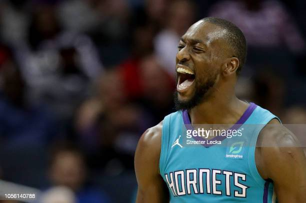 Kemba Walker of the Charlotte Hornets reacts after a play against the Oklahoma City Thunder during their game at Spectrum Center on November 1 2018...