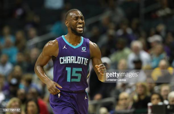 Kemba Walker of the Charlotte Hornets reacts after a play against the New Orleans Pelicans during their game at Spectrum Center on December 2 2018 in...