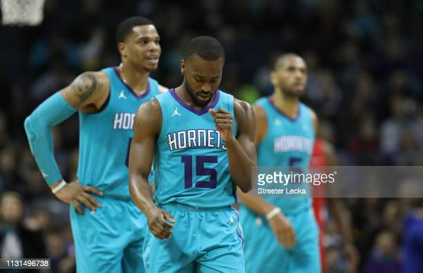 Kemba Walker of the Charlotte Hornets reacts after a play against the Washington Wizards during their game at Spectrum Center on February 22 2019 in...