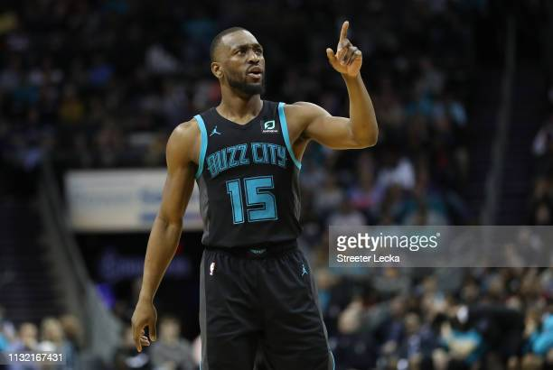 Kemba Walker of the Charlotte Hornets reacts after a play against the Golden State Warriors during their game at Spectrum Center on February 25 2019...