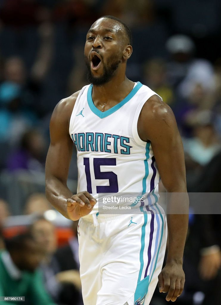 Kemba Walker #15 of the Charlotte Hornets reacts after a play against the Orlando Magic during their game at Spectrum Center on October 29, 2017 in Charlotte, North Carolina.