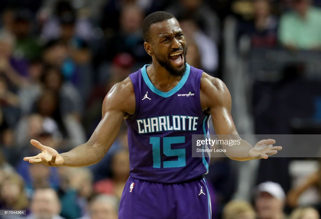Kemba Walker #15 of the Charlotte Hornets reacts after a play against the Toronto Raptors during their game at Spectrum Center on February 11, 2018 in Charlotte, North Carolina.