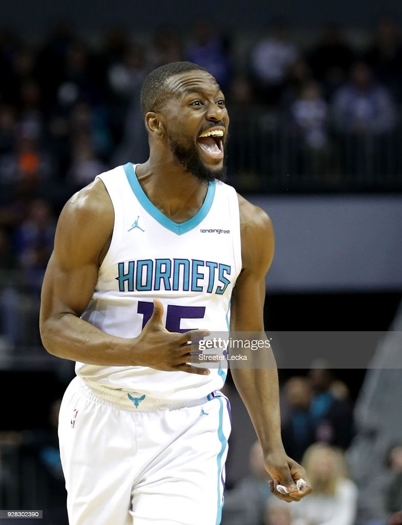 Kemba Walker #15 of the Charlotte Hornets reacts after a play against the Philadelphia 76ers during their game at Spectrum Center on March 6, 2018 in Charlotte, North Carolina.