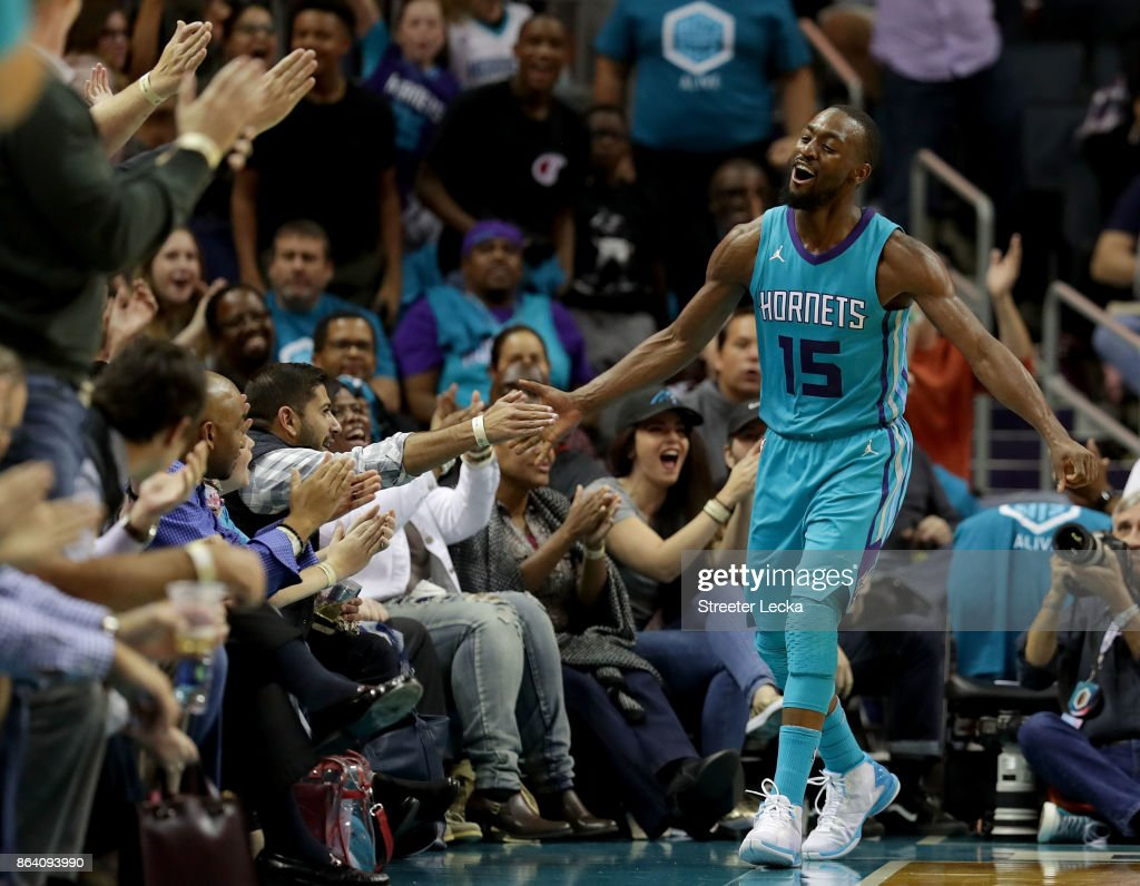 Kemba Walker #15 of the Charlotte Hornets reacts after a shot against the Atlanta Hawks during their game at Spectrum Center on October 20, 2017 in Charlotte, North Carolina.
