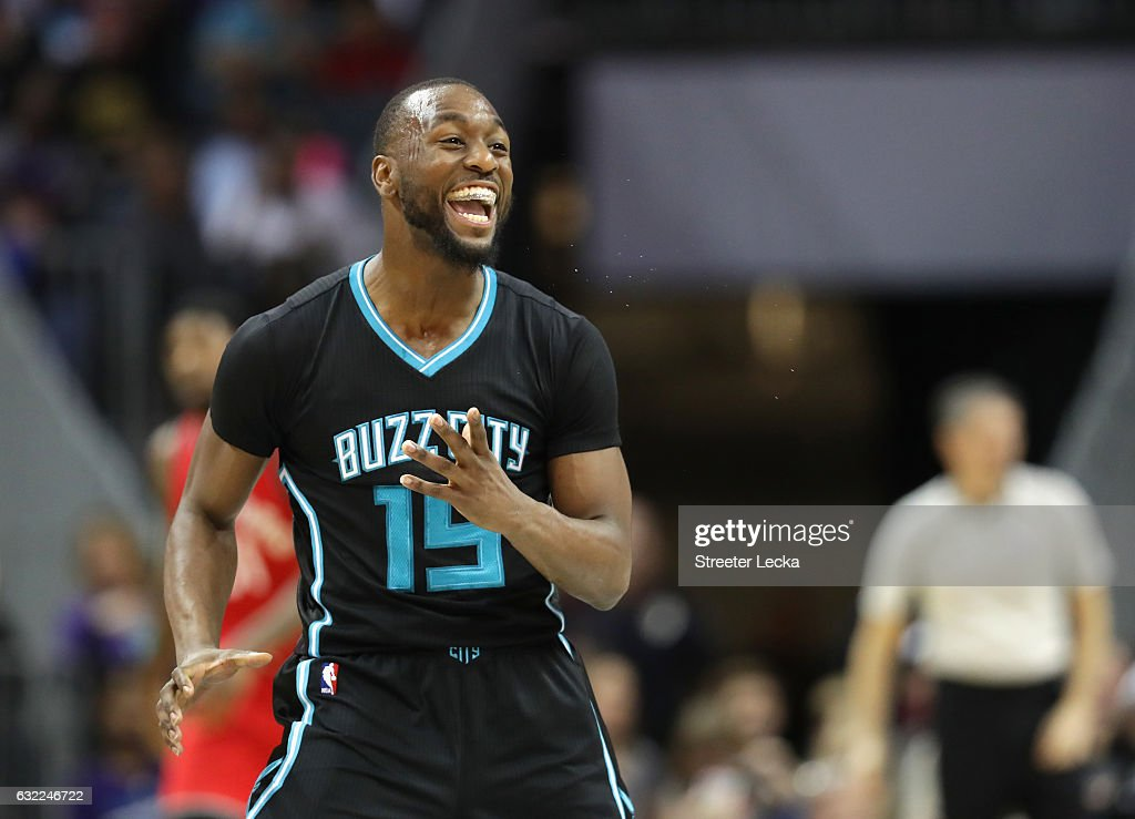 Kemba Walker #15 of the Charlotte Hornets reacts after making a basket against the Toronto Raptors during their game at Spectrum Center on January 20, 2017 in Charlotte, North Carolina.