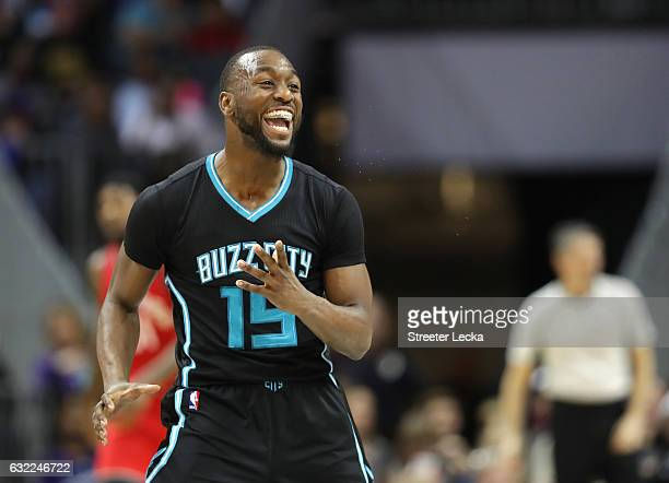 Kemba Walker of the Charlotte Hornets reacts after making a basket against the Toronto Raptors during their game at Spectrum Center on January 20...