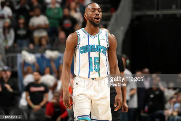 Kemba Walker of the Charlotte Hornets reacts against the Boston Celtics on March 23 2019 at Spectrum Center in Charlotte North Carolina NOTE TO USER...