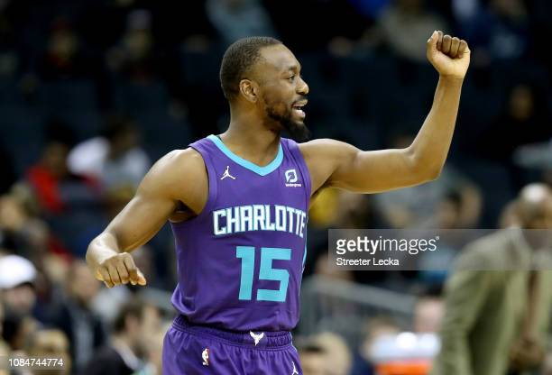 Kemba Walker of the Charlotte Hornets reacts as he runs onto the floor against the Cleveland Cavaliers before their game at Spectrum Center on...