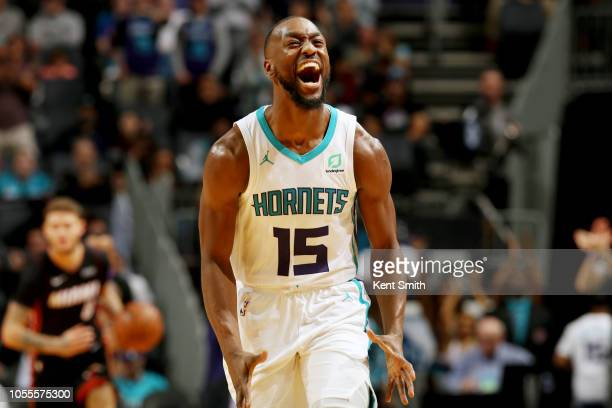 Kemba Walker of the Charlotte Hornets reacts during the gmae against the Miami Heat on October 30 2018 at Spectrum Center in Charlotte North Carolina...