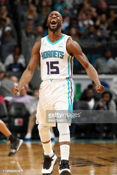 Kemba Walker of the Charlotte Hornets reacts to a play during the game against the San Antonio Spurs on March 26 2019 at the Spectrum Center in...