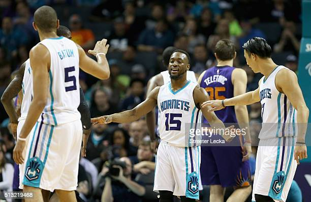 Kemba Walker of the Charlotte Hornets reacts with his teammates during their game against the Phoenix Suns at Time Warner Cable Arena on March 1 2016...